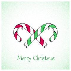 Cartoon Style Hand Drawn Christmas Candy Greetings Card
