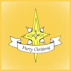 Cartoon Style Christmas Star Hand Drawn Illustration