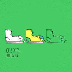 Cartoon Style Ice Skates Hand Drawn Illustration Icon