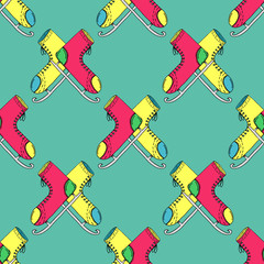Cartoon Style Hand Drawn Ice Skates Seamless Pattern