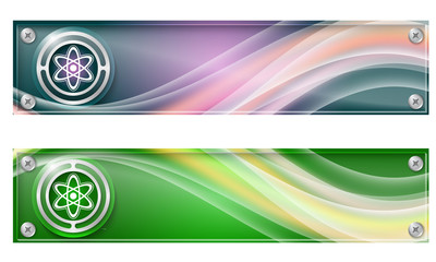 Set of two banners with colored rainbow and science symbol
