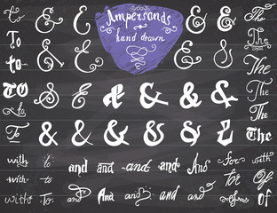 Ampersands and Catchwords hand drawn set for Logo and Label Designs. Vintage Style Hand Lettered symbols collection on chalkboard background