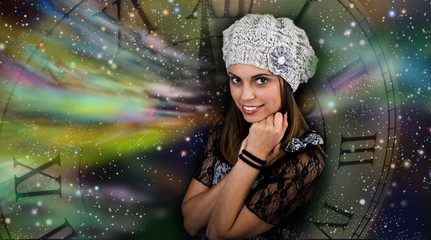 The woman with New Year's mood in ,woman happy in knitted hat