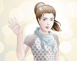 young woman / attractive young woman waving