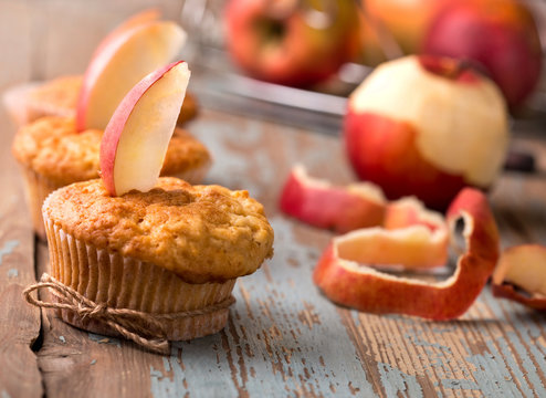 delicious homemade muffins with apples