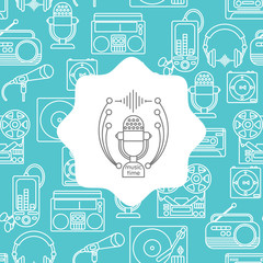 Music and audio icons in a linear style, seamless pattern with the emblem of music for your design.