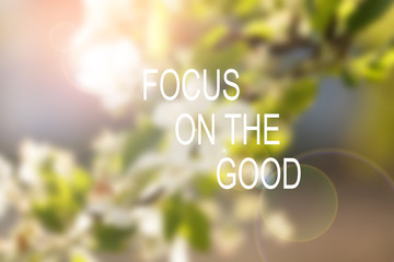 Inspirational motivational quote. Focus on the good. wise saying on soft background of nature