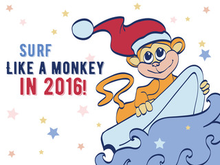 Vector Surfing Holidays New Year Monkey Greeting Card Design. Happy 2016. Celebration. Surf board. Chimp