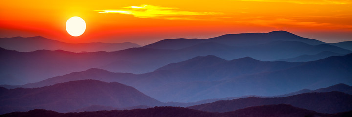 Fototapeten Gebirge Smoky mountain sunset