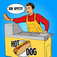 Hot dog guy pop art cartoon style vector