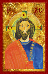 Icon of Jesus Christ, bytantine style. Abstract watercolor like digital illustration.