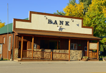 Vintage, old fashioned savings bank building in the western USA