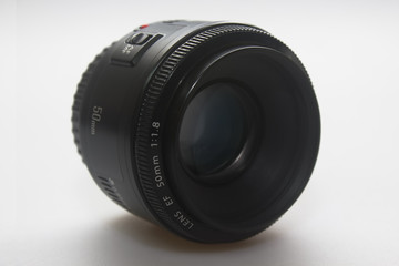 Front shot of a 50mm lens on white background
