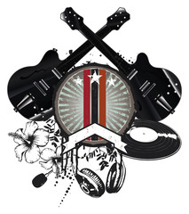 grunge and vintage music shield with black guitars