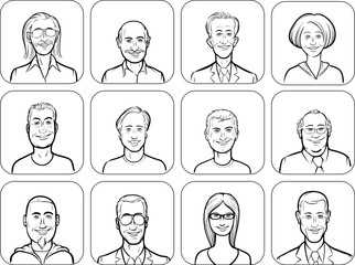 outline vector illustration of diverse business people