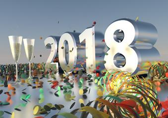 Silvesterparty 2018 mit Sekt, Konfetti und Luftschlangen