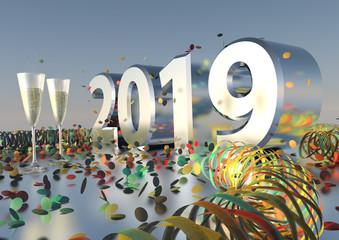 Silvesterparty 2019 mit Sekt, Konfetti und Luftschlangen