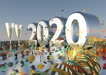 Silvesterparty 2020 mit Sekt, Konfetti und Luftschlangen