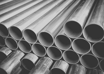 Close - up Stack of construction metal pipes