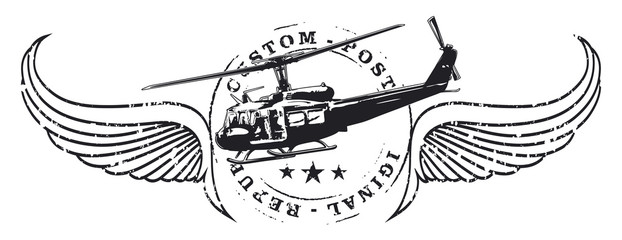 air force seal shield with old army helicopter