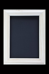 Vintage white wood picture frame on black blackground
