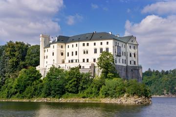 monumental medieval gothic Orlik nad Vltavou castle and dam on Moldau river, South Bohemia, Czech republic