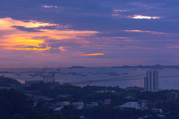 City of life at pattaya beach Thailand,Twilight scene.