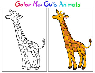 Color Me: Cute Animals. Giraffe.