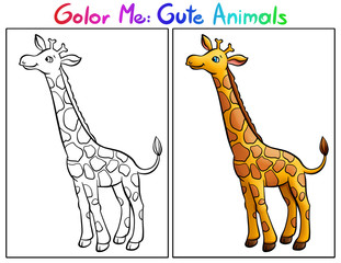 Color Me: Cute Animals. Giraffe.
