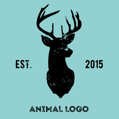 Hipster logotype with head of deer.
