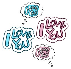 Speech bubbles with I LOVE YOU text