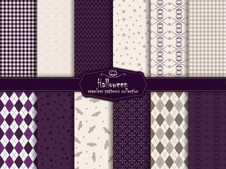 Halloween collection of seamless pattern