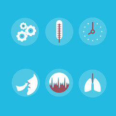 Medical Icons on the theme of respiration: a thermometer, lungs,