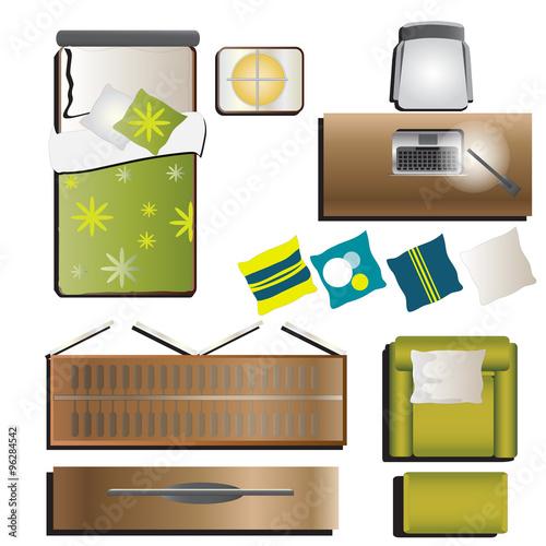 """Bedroom Top View Set 5 For Interior, Vector Illustration"