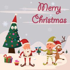 Santa, Elf and Reindeer celebrating Merry Christmas