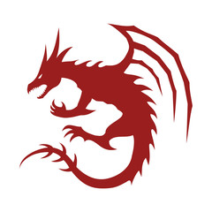 Year of the dragon flat vector icon