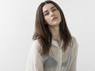 Pretty girl portrait wearing white blouse