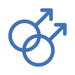 Gay gender symbols line art icon for apps and websites