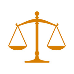 Golden scales of justice flat icon