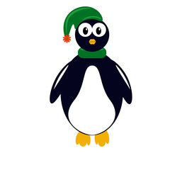 Penguin in a hat an scarf, flat vector clip art. EPS10