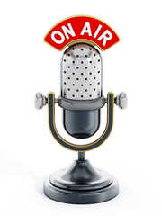 Vintage microphone with on air text