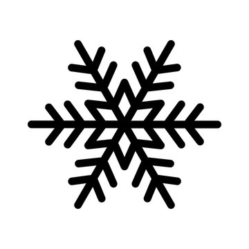 Perfect winter snowflake with star line art icon for apps and websites