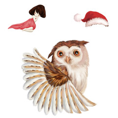 Illustration: The Big Owl. The Sleeping Girl. The Christmas Hat. Realistic Fantastic Cartoon Style Creative Illustration Resource / Elements / Assets Design.