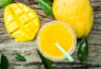 Mango shake. Fresh tropical fruit smoothies