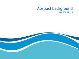 Abstract background with flat blue waves at the bottom
