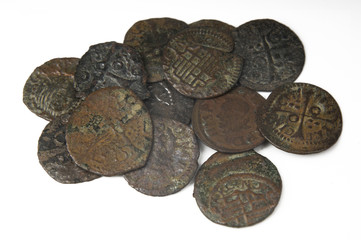 Lot of coins, money seventeenth century Barcelona, Spain