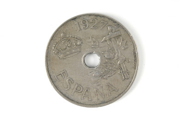 Spain coin of 1927 twenty cents