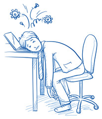 Exhausted business man at his desk with gears over his head, concept of stress, burnout, headache, depression, hand drawn doodle vector illustration
