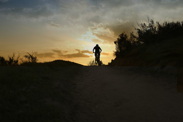 Mountain biker in the sunset
