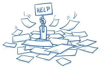 Business man buried in a pile of sheets, holding help-sign, concept for stress, burnout, too much work, hand drawn doodle vector illustration